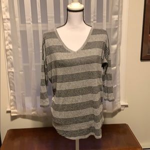 Loosely black and grey striped shirt